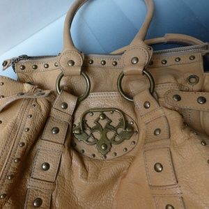 BETSEY JOHNSON knocker purse 14''x10'' warm carmel